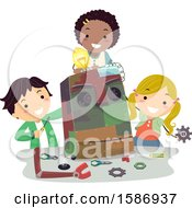 Clipart Of A Group Of Children Building A Robot Made From Different Scraps From Junk Yard Royalty Free Vector Illustration