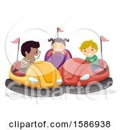 Clipart Of A Group Of Children Riding Bumper Cars Royalty Free Vector Illustration