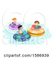 Clipart Of A Group Of Children Playing Bumper Boats Royalty Free Vector Illustration