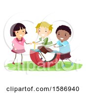 Clipart Of A Group Of Children Using A DIY Tire Rocker In The Playground Royalty Free Vector Illustration by BNP Design Studio