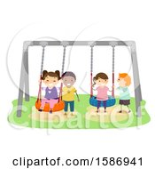 Clipart Of A Group Of Children Swinging At A Playground Royalty Free Vector Illustration by BNP Design Studio