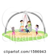Clipart Of A Group Of Children Playing In A Giant Birds Nest Swing In The Playground Royalty Free Vector Illustration by BNP Design Studio