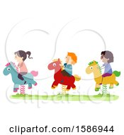 Clipart Of A Group Of Children Riding A Horse Rocker In The Playground Royalty Free Vector Illustration by BNP Design Studio