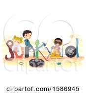 Clipart Of A Group Of Children With Junkyard Lettering Royalty Free Vector Illustration by BNP Design Studio