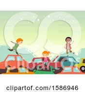 Clipart Of A Group Of Children Playing In The Junkyard With Old Cars Royalty Free Vector Illustration