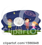 Clipart Of A Group Of Children Listening To Sounds In Outer Space Royalty Free Vector Illustration