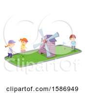 Group Of Children Playing Miniature Golf