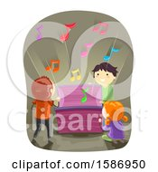 Clipart Of A Group Of Children Opening A Chest With Musical Notes Coming Out Royalty Free Vector Illustration
