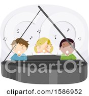 Clipart Of A Group Of Children Singing And Playing A Piano Royalty Free Vector Illustration