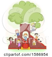 Clipart Of A Group Of Children Playing Around An Indoor Playground Tree Royalty Free Vector Illustration by BNP Design Studio