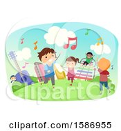Clipart Of A Group Of Children Playing With Instruments Outdoors Royalty Free Vector Illustration