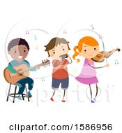 Clipart Of A Group Of Children Playing Instruments Royalty Free Vector Illustration