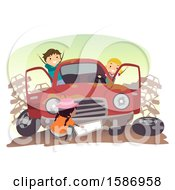 Clipart Of A Group Of Children Playing With A Car In The Junk Yard Royalty Free Vector Illustration by BNP Design Studio