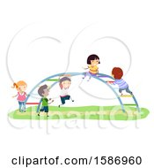 Clipart Of A Group Of Children Playing On A Rainbow Bar In The Playground Royalty Free Vector Illustration