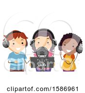 Clipart Of A Group Of Children Recording A Song In A Studio Royalty Free Vector Illustration by BNP Design Studio