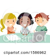 Clipart Of A Group Of Children Recording A School Podcast Royalty Free Vector Illustration by BNP Design Studio