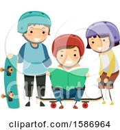 Clipart Of A Group Of Children Reading A Book About Skateboarding Tricks Royalty Free Vector Illustration