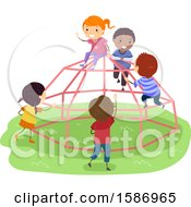 Clipart Of A Group Of Children Playing On A Dome Climber In The Playground Royalty Free Vector Illustration by BNP Design Studio
