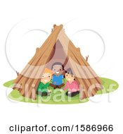 Clipart Of A Group Of Children In A Garden Teepee Royalty Free Vector Illustration
