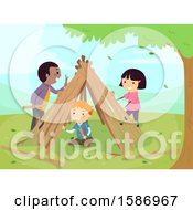 Clipart Of A Group Of Children Making A Garden Teepee Royalty Free Vector Illustration