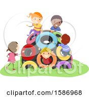 Clipart Of A Group Of Children Playing In A Tire Dome In The Playground Royalty Free Vector Illustration by BNP Design Studio