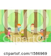 Clipart Of A Group Of Children Peeking Around Trees In The Woods Royalty Free Vector Illustration
