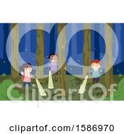 Clipart Of A Group Of Children Shining Flashlights In The Woods At Night Royalty Free Vector Illustration by BNP Design Studio