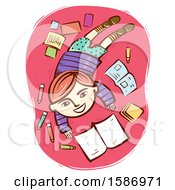 Clipart Of A Red Haired White Boy Reading A Book With Markers And Notes Lying Around Royalty Free Vector Illustration