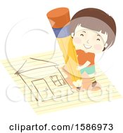 Clipart Of A Boy Holding A Pencil And Drawing A House On Paper Royalty Free Vector Illustration