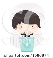 Clipart Of A Boy Politician Standing On A Lectern And Giving A Speech Royalty Free Vector Illustration