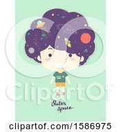 Clipart Of A Boy With Outer Space On His Head Royalty Free Vector Illustration