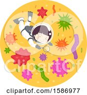 Clipart Of A Boy Diving Inside A Drop Under A Microscope Looking At Different Organisms Using Magnifying Glass Royalty Free Vector Illustration