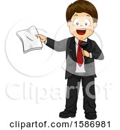 Clipart Of A Brunette White Boy Talking As A Host With Microphone And Script Royalty Free Vector Illustration