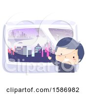 Clipart Of A Boy Showing The View Of A City From His Window Royalty Free Vector Illustration
