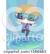 Clipart Of A Blond White Boy Wearing Virtual Reality Goggles Floating Through Time Royalty Free Vector Illustration