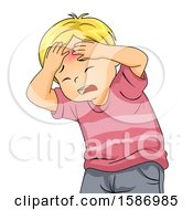 Clipart Of A Blond White Boy Holding His Head With A Red Bump Royalty Free Vector Illustration