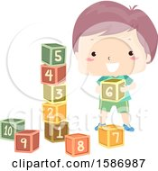 Clipart Of A White Boy Counting And Building A Cube Tower Royalty Free Vector Illustration