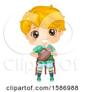 Clipart Of A Blond White Boy Playing Flag Football Royalty Free Vector Illustration