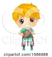 Blond White Boy Playing Flag Football