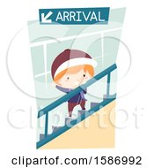 Clipart Of A Boy Riding An Escalator In The Airport Royalty Free Vector Illustration