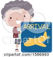 Clipart Of A Boy Holding An Arrival Sign Royalty Free Vector Illustration