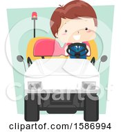 Clipart Of A Boy Driving An Electric Car At The Airport Royalty Free Vector Illustration