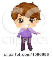 Clipart Of A White Ballroom Dancer Boy Royalty Free Vector Illustration