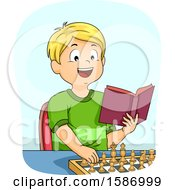 Clipart Of A Blond White Boy Reading A Book And Practicing Chess Moves Royalty Free Vector Illustration
