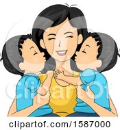 Clipart Of A Mother Holding Her Twin Boys Royalty Free Vector Illustration