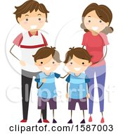 Clipart Of Parents And Their Twin Boys Royalty Free Vector Illustration