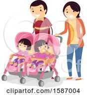 Parents Walking With Their Twin Girls In Strollers