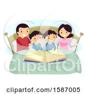 Clipart Of Parents Reading A Bedtime Story To Their Twin Boys Royalty Free Vector Illustration