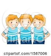Clipart Of A Group Of Matching Triplet Boys Royalty Free Vector Illustration