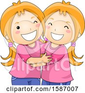 Clipart Of Matching Hugging Twin Girls Royalty Free Vector Illustration